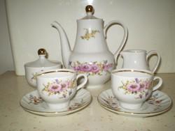 HENNEBERG német virágos porcelán garnitúra kávéskészlet 7 db. hibátlan