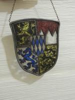 Régi német címeres ón keretes  kép üvegre festett