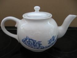 Klasszikus keleti teás kanna, kancsó szűrővel, kék rózsákkal