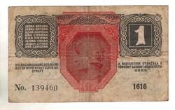 1 korona 1916 osztrák bélyegzés 1.