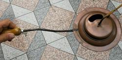 Réz, bronz kávépörkölő nyeles változot! A kávészemeket,mandula,napraforgó pörkölheti.Dekoráció!