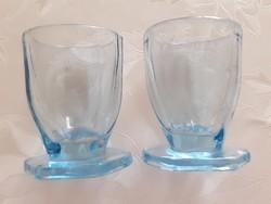 Régi art deco kis talpas likőrös pohár kék 2 db