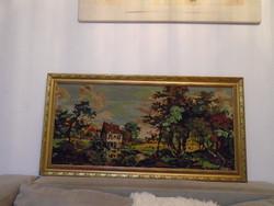 Szép antik nagy gobelin csendélet kézi készítésű vastag aranyozott fa keretben
