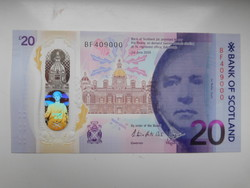 Skócia 20 font 2016 UNC polymer Bank Of Scotland