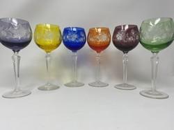 Moser stílusú 6 színű 6 darabos kristály boros pohár szett