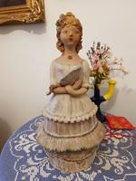 Gy. E. jelzéssel Lány legyezővel KERÁMIA 53 cm