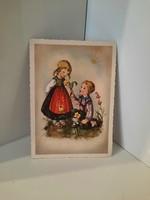 Hummel figurás szép régi német képeslap