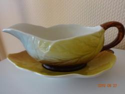 Royal Winton porcelán szószos csésze és levél alakú csészealj