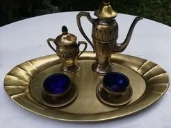 Kávézó készlet réz tálcáján, kék üveg betétes! Szecessziós, de Art Decohoz is. Luxus dekoratív darab