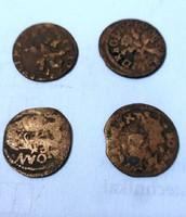 LITVÁNIA 1650 4 db Solidus bronz pénz