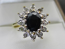 Nagyon szép valódi zafír és 0.12ct brill 14kt arany gyűrű