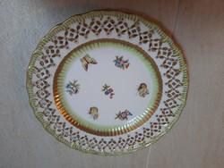 Herendi Viktória mintás porcelán áttört fali tányér, tál