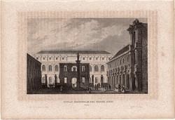 National School of Fine Arts (2), steel engraving 1850, original, 10 x 15, engraving, Paris, beaux arts