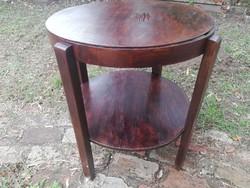 Art deco 2 polcos szép formájú kör asztal