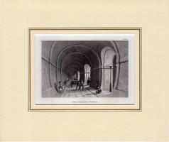 Temze - alagút, acélmetszet 1850, eredeti, metszet, 10 x 15 cm, Anglia, London, paszpartuban
