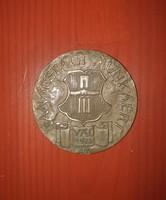 Jelzett Asszyonyi Tamás bronz plakett, Vác 1972