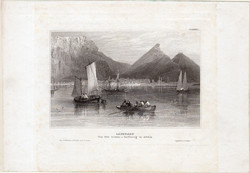Cape Town, steel engraving 1850, original, 10 x 16 cm, engraving, South Africa, capstadt, cape town, harbor