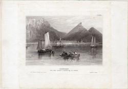 Fokváros, acélmetszet 1850, eredeti, 10 x 16 cm, metszet, Dél - Afrika, Capstadt, Cape Town, kikötő