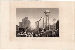 Ruins of Thebes, steel engraving 1840, original, 9 x 14 cm, engraving, Upper - Egypt, Africa, antiquity