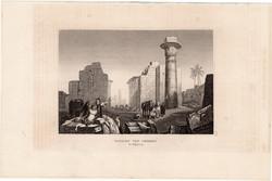 Théba romjai, acélmetszet 1840, eredeti, 9 x 14 cm, metszet, Felső - Egyiptom, Afrika, ókor