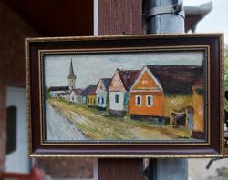 Nagy Sándor  :Fertőrákosi utcasor farosra van festve,  festmény , Gyönyörű darab
