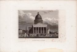 Panthéon, Párizs, acélmetszet 1850, eredeti, 10 x 14, metszet, Franciaország, Európa