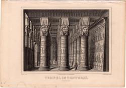 Dandarah, acélmetszet 1850, eredeti, 9 x 13, metszet, Egyiptom, Afrika, Dendera, Tentyris, templom