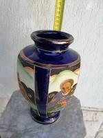 Keleti, Ázsia, Japán váza kézifestett. Kobaltkék jelenettel!Színes gyönyörű.  Gyüjteménybe, dekor!!