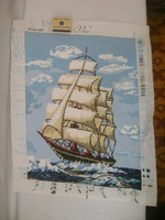 Vitorlás hajó - kézzel hímzett gobelin