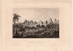 Meroé, pyramids, steel engraving 1850, original, engraving, 9 x 15 cm, Sudan, Africa, nubia, nile, ruin