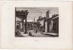 Tunisz (1), acélmetszet 1880, eredeti, 9 x 13 cm, metszet, Tunézia, Afrika, észak, főváros