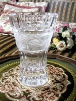 Különleges ritkaság, ajándékozható, nagyobb méretű, hibátlan, régi, csiszolt, ólomkristály üvegváza