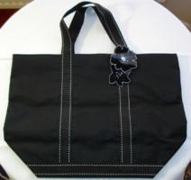 SEPHORA, fekete, gyöngyvászon bevásárló táska
