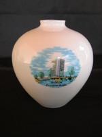Balatoni emlék  Hollóházi porcelán váza Siófok Európa Szálló