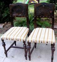 Különleges faragású, bőrtámlás, ónémet székek párban, tömör fából