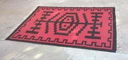 Kelim, torontáli közép szőnyeg (214 x 148 cm, piros-fekete) eladó