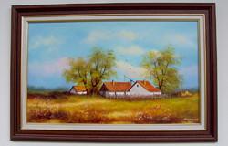 AKCIÓ Alföldi tanya KERETEZVE 40X60cm Obermayer olajfestmény
