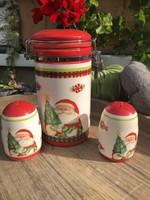 Csatos tároló és só-, borsszóró karácsonyi
