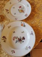 2 db Hüttl Tivadar antik porcelán tányér 1 mély és 1 lapos