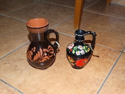 2db Kalocsai festett kis korsó köcsög váza Kalocsai mintával