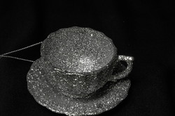 Glitteres kávés csésze karácsonyfa dísz  - ezüst színű