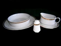 Régi Alföldi porcelán arany szélű 5 darabos tálaló készlet: mély és lapos tál, szószos, sószóró