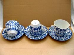 3 db régi Nippon tojáshéj lithophane porcelán teás szett