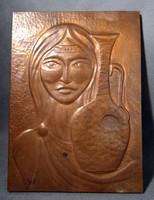 Lány korsóval  jelzett vörösréz  falikép