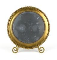 1C259 Régi kör alakú réz tükörkeret fotókeret 14 cm