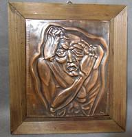 Pánik jelzett bronz falikép