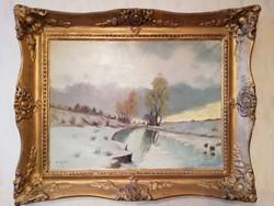 Slosar Károly - Téli táj olaj vászon festmény, blondel keretében, szignózott 80 x100 cm