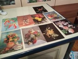 9 db virág mintás posta tiszta képeslap