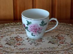 Két szép kávés csésze: piros rózsás és kék virágos