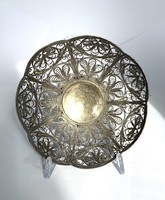 Old openwork richly filigree Russian silver-plated bowl silver plate decorative plate centerpiece